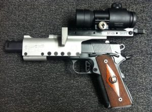 handgun with mounted optic scope